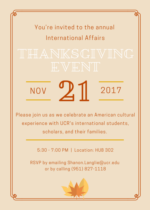 International Affairs Thanksgiving Invitation