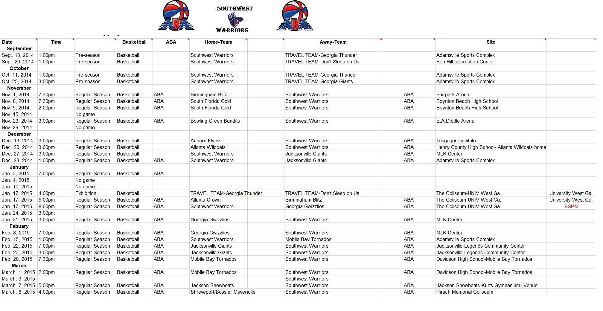 2016-2017 ABA Schedule