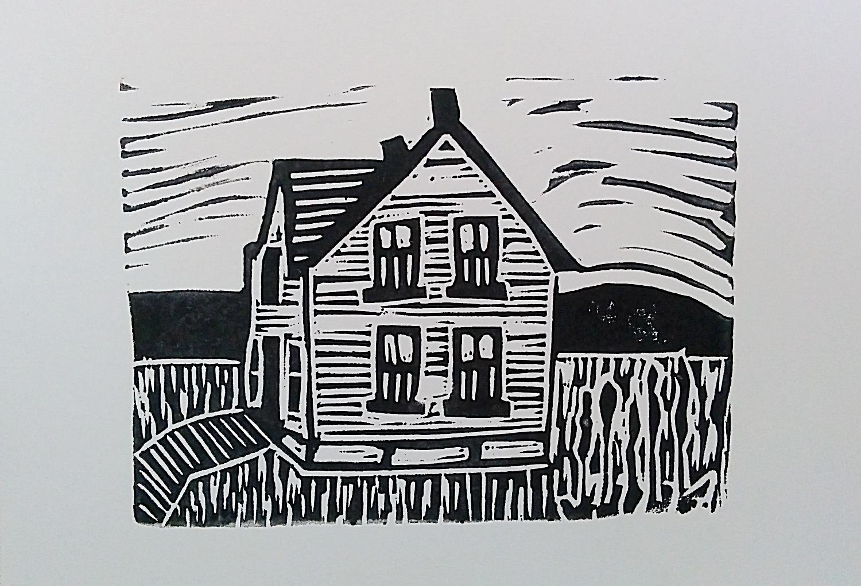 Original liinocut of the Huble House - Mo Hamilton