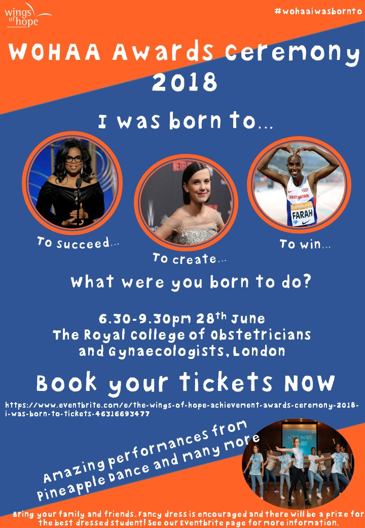 Flyer for the Wings of Hope Achievement Awards Ceremony 2018 - theme I was Born To