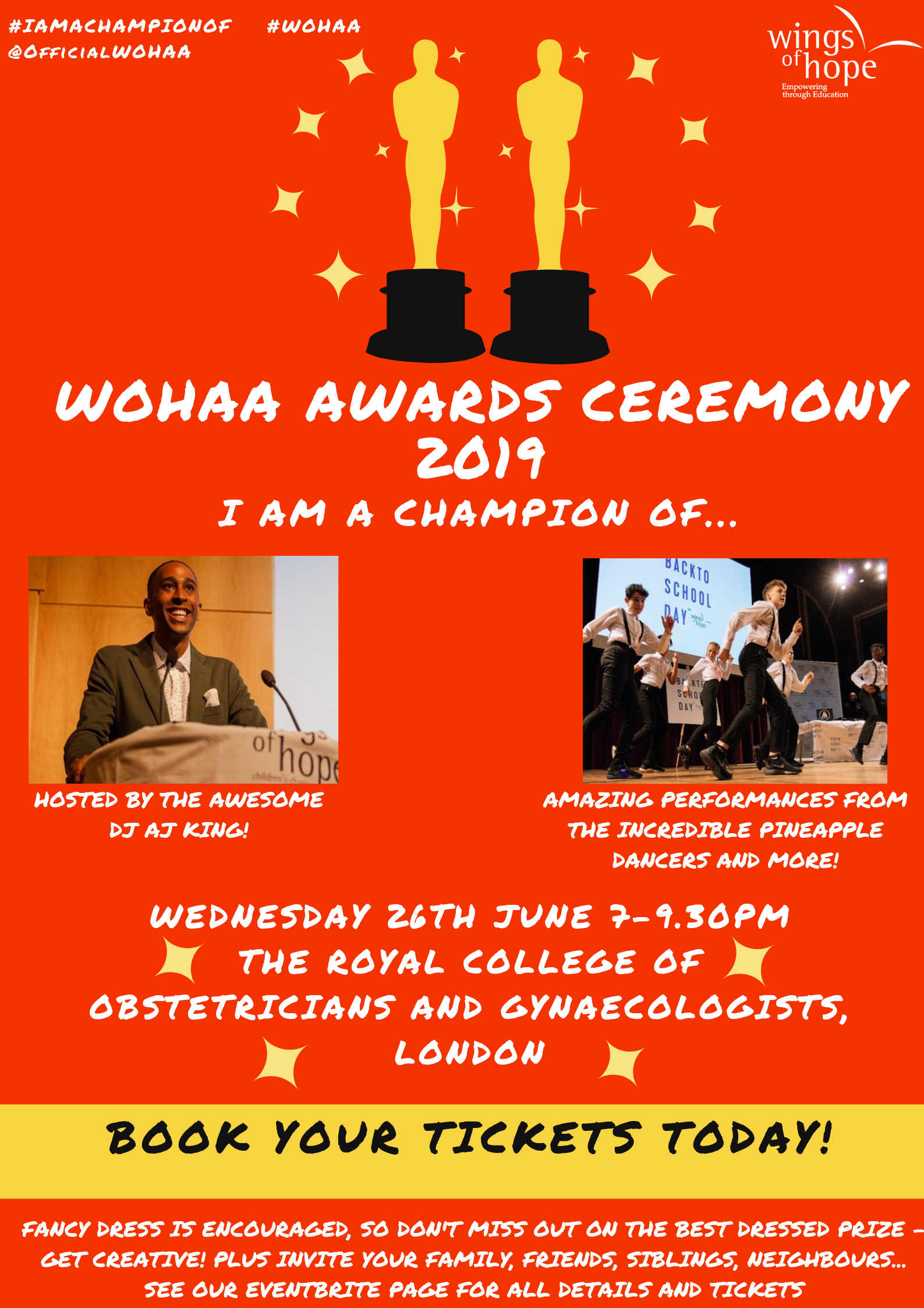 Flyer for the Wings of Hope Achievement Awards Ceremony 2019