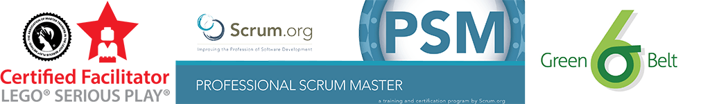 Certifications Lego® Serious Play® - Professional Scrum Master - Lean Six Sigma Green Belt