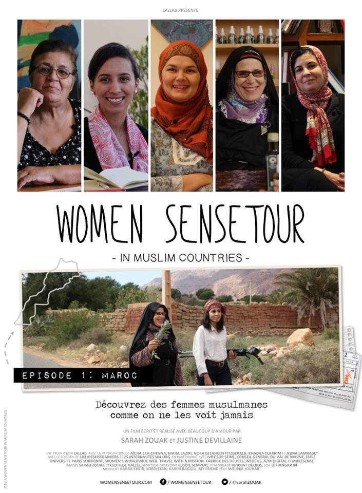 Affiche documentaire du Women SenseTour in Muslim countries avec les photos des 5 femmes rencontrées au Maroc