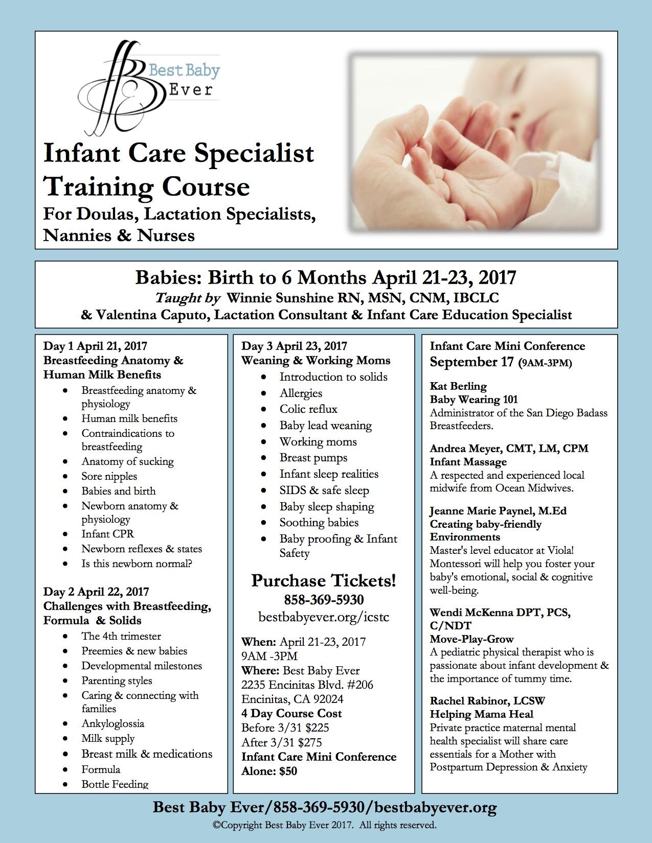 Infant Care Specialist Training Course April 21-23, 2017
