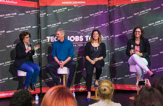 Kara Swisher, Steve Case, Leanne Pittsford, Laura Weidman Powers at Tech Jobs Tour 2017