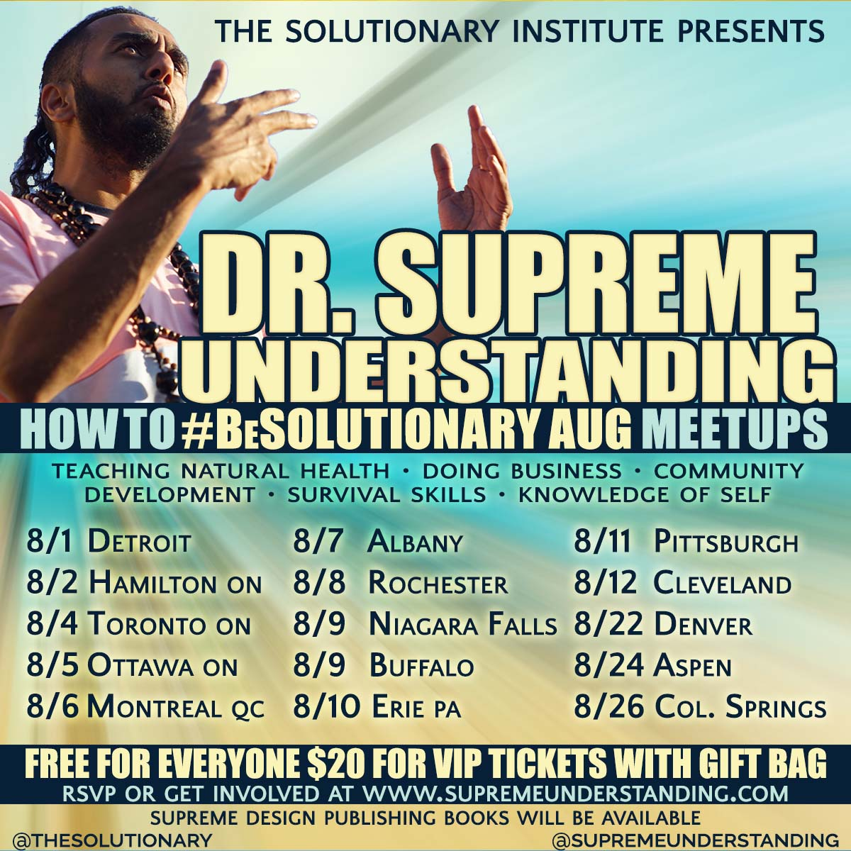 How to #BeSolutionary August Tour Dates