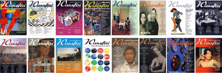 Multiple covers of Wasafiri literary journal