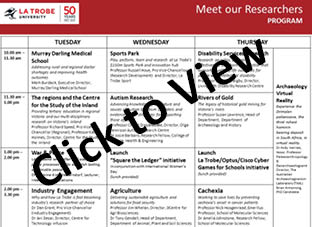 Click to view Meet the Researcher Program Schedule