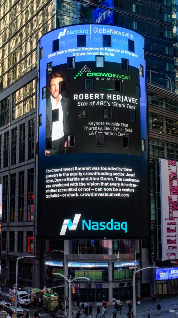 Crowd Invest Summit was featured on the NASDAQ Billboard in Times Square