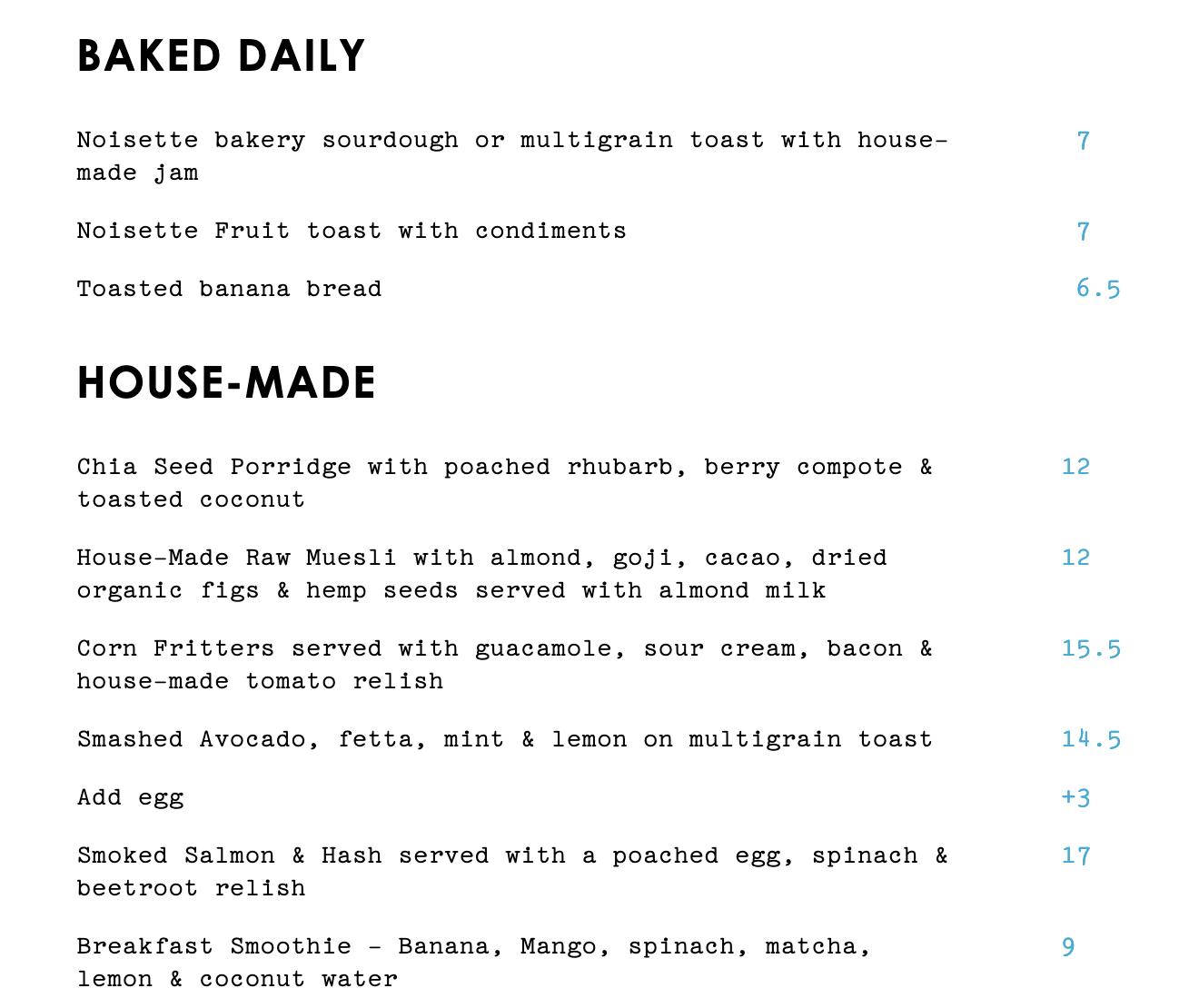 Trunk diner menu #1