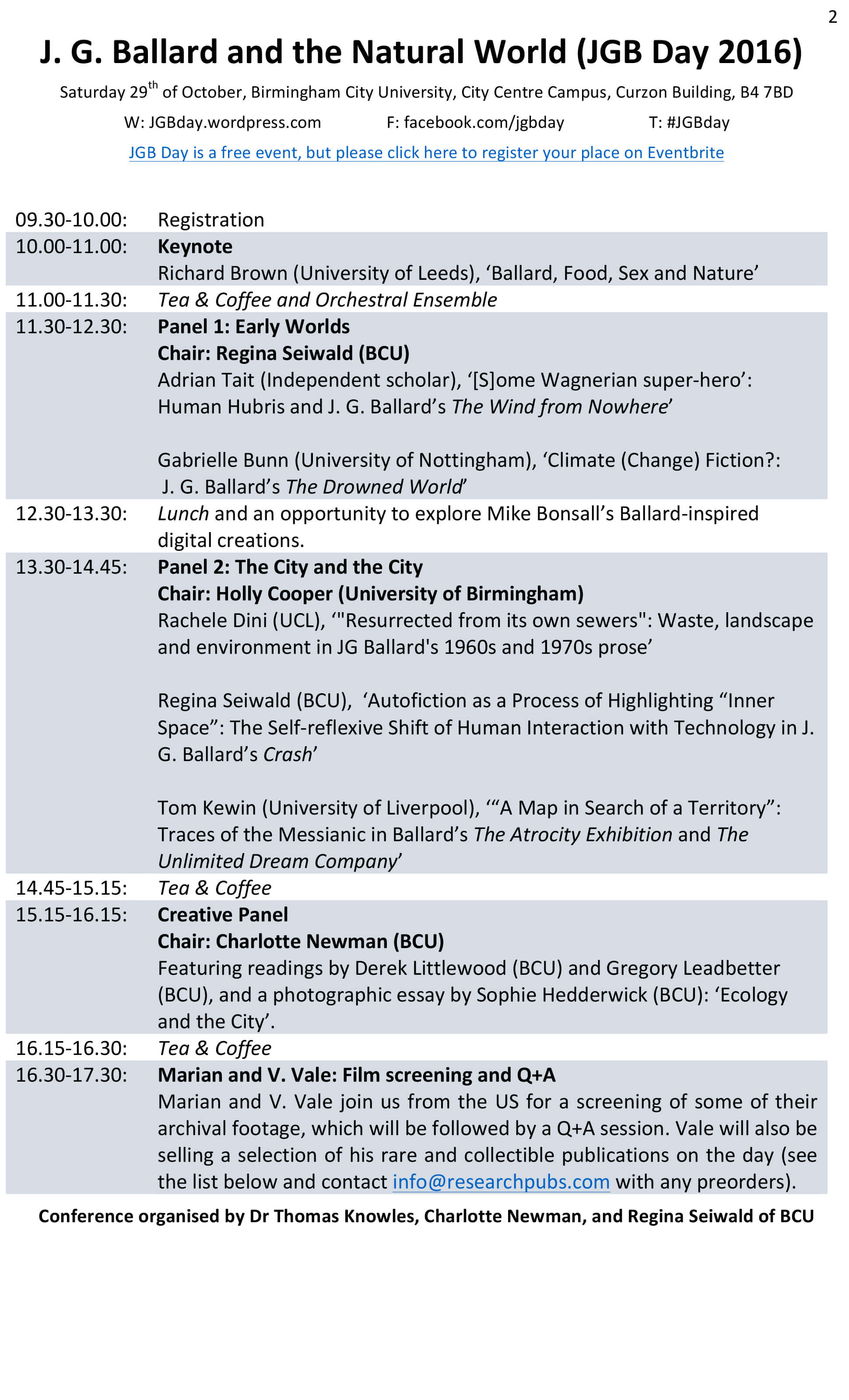 Conference programme revised