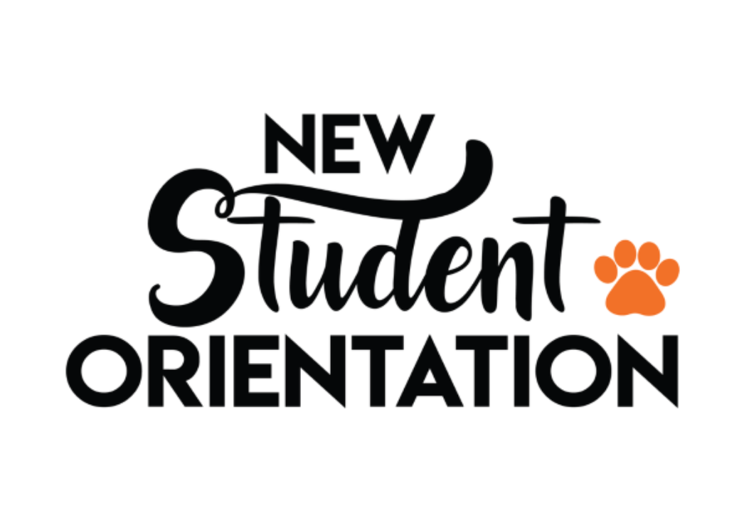 New Student Orientation with orange bear paw