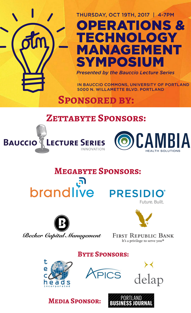 Event sponsors for the Operations and Technology Management Symposium