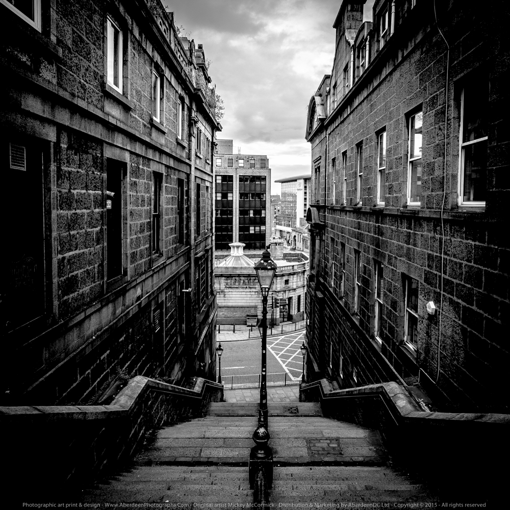 AP Photos Image - Tourist Visitors Landmark - Bridge Street Stairs leading to Guild Street   - Aberdeen