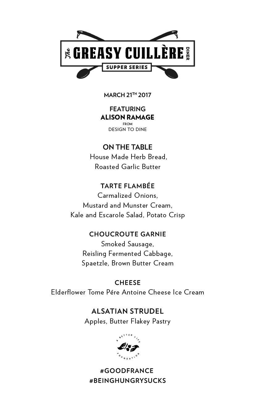 Menu March 21 Greasy Spoon Diner with Chef Alison Ramage