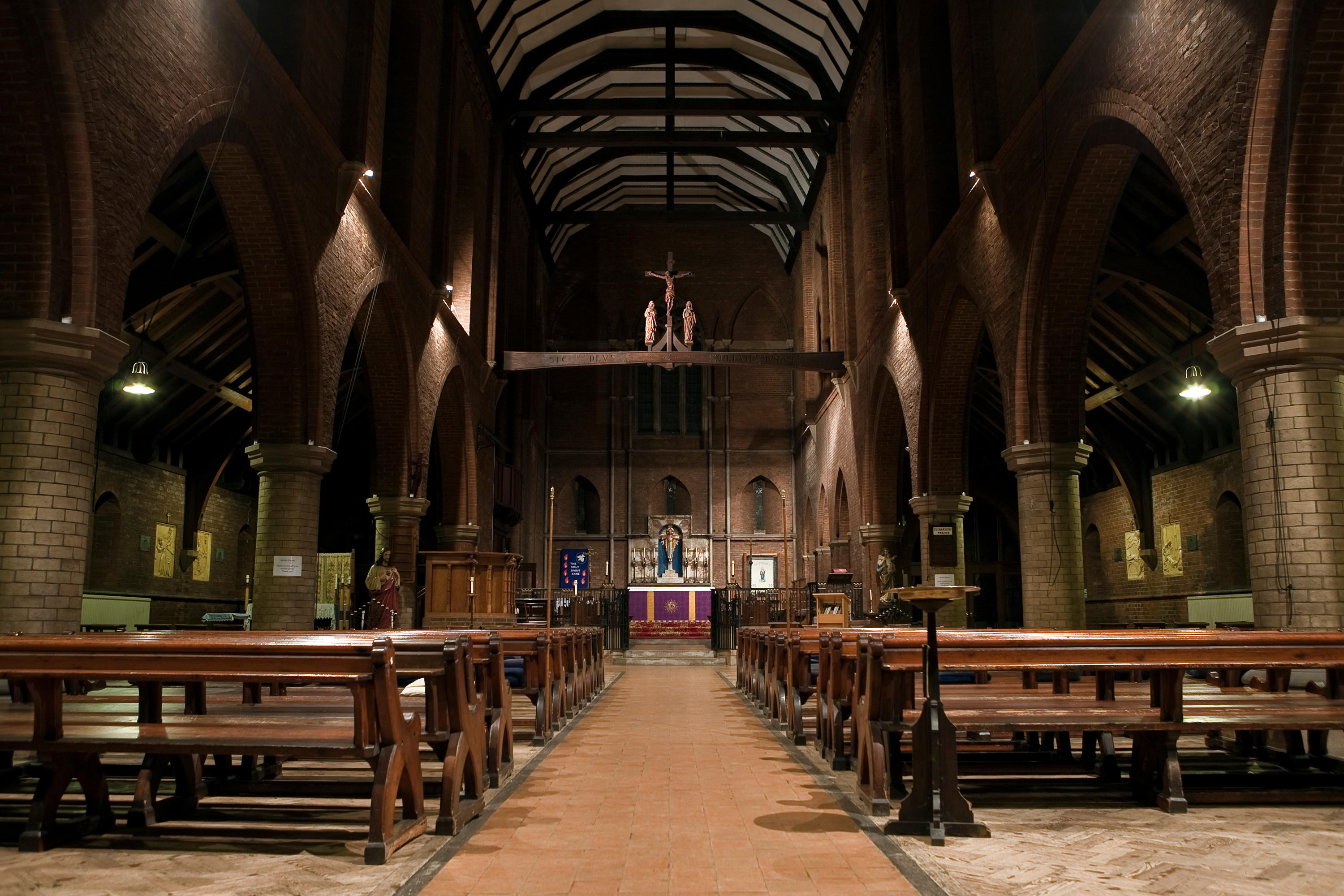 The spacious interior of St Osmund's
