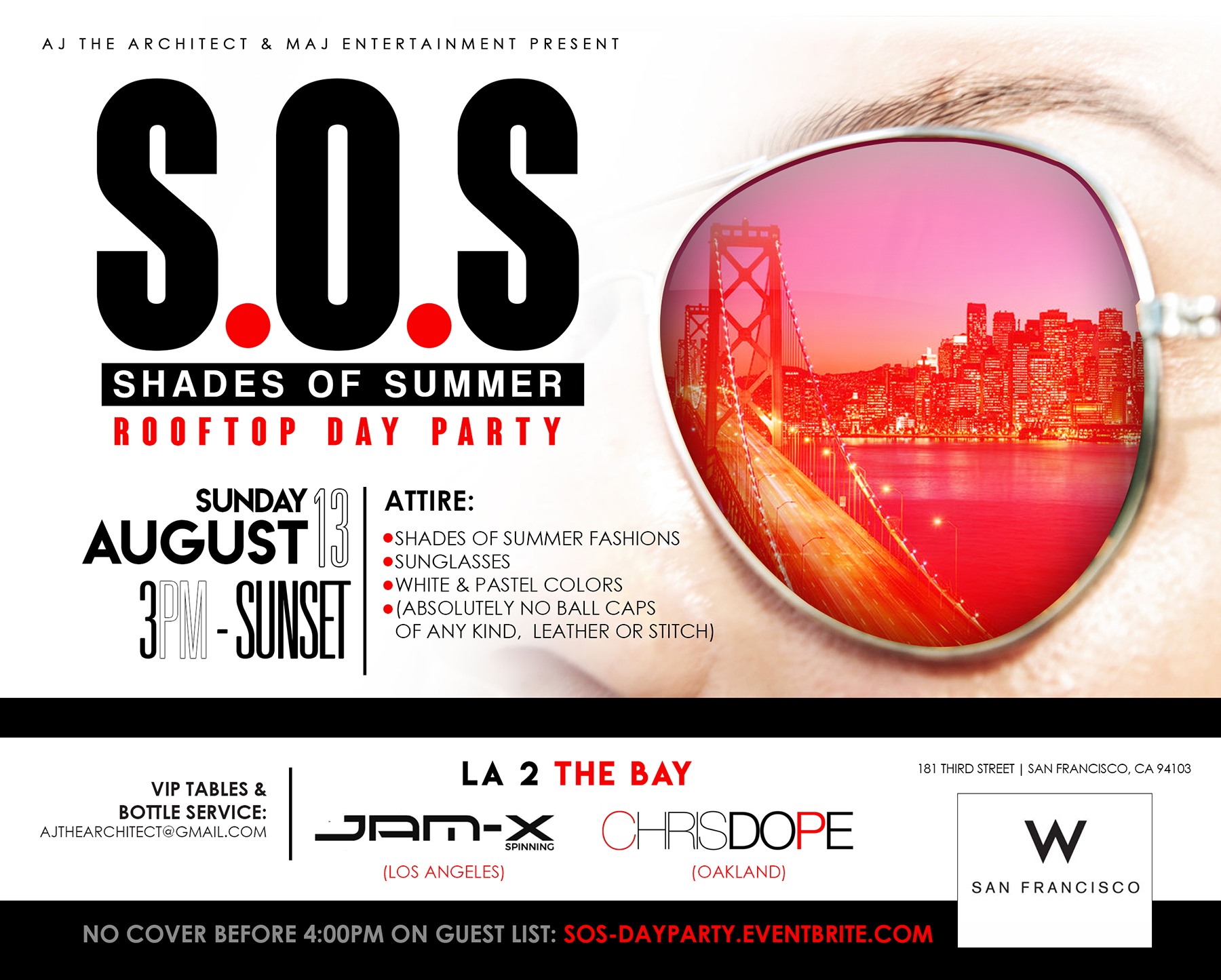 SHADES OF SUMMER (S.O.S): ROOFTOP DAY PARTY @ THE W Tickets, Sun ...