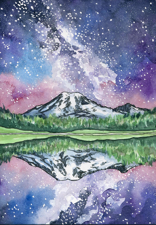 Rainier Reflected Painting