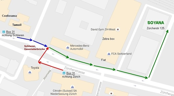 Bus 31 Gasometerbrücke - Zürcherstr. 125