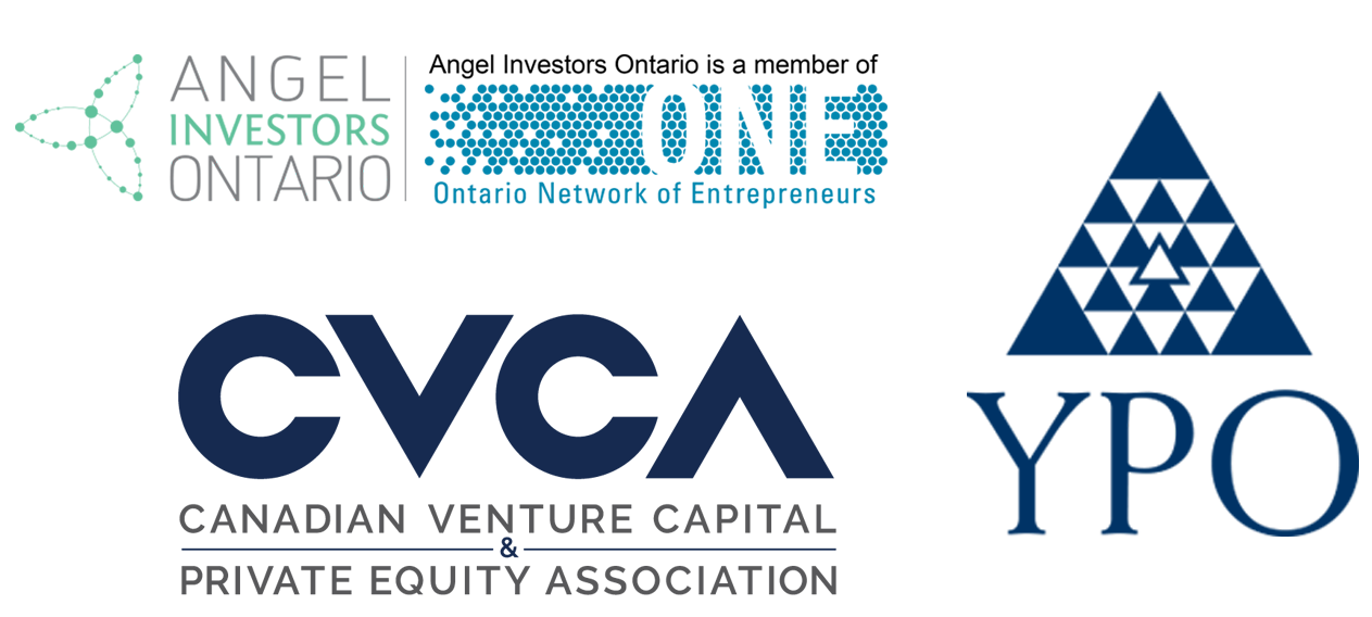 Logos for Angel Investors Ontario, CVCA, and YPO