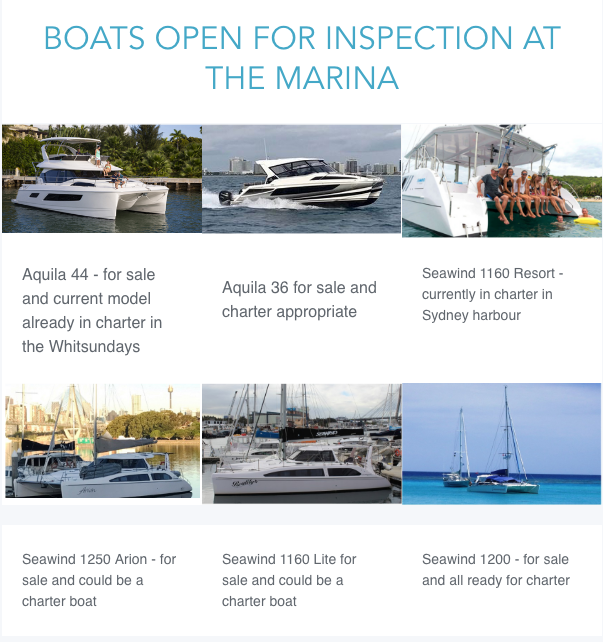 Boats open for Inspection at the Marina