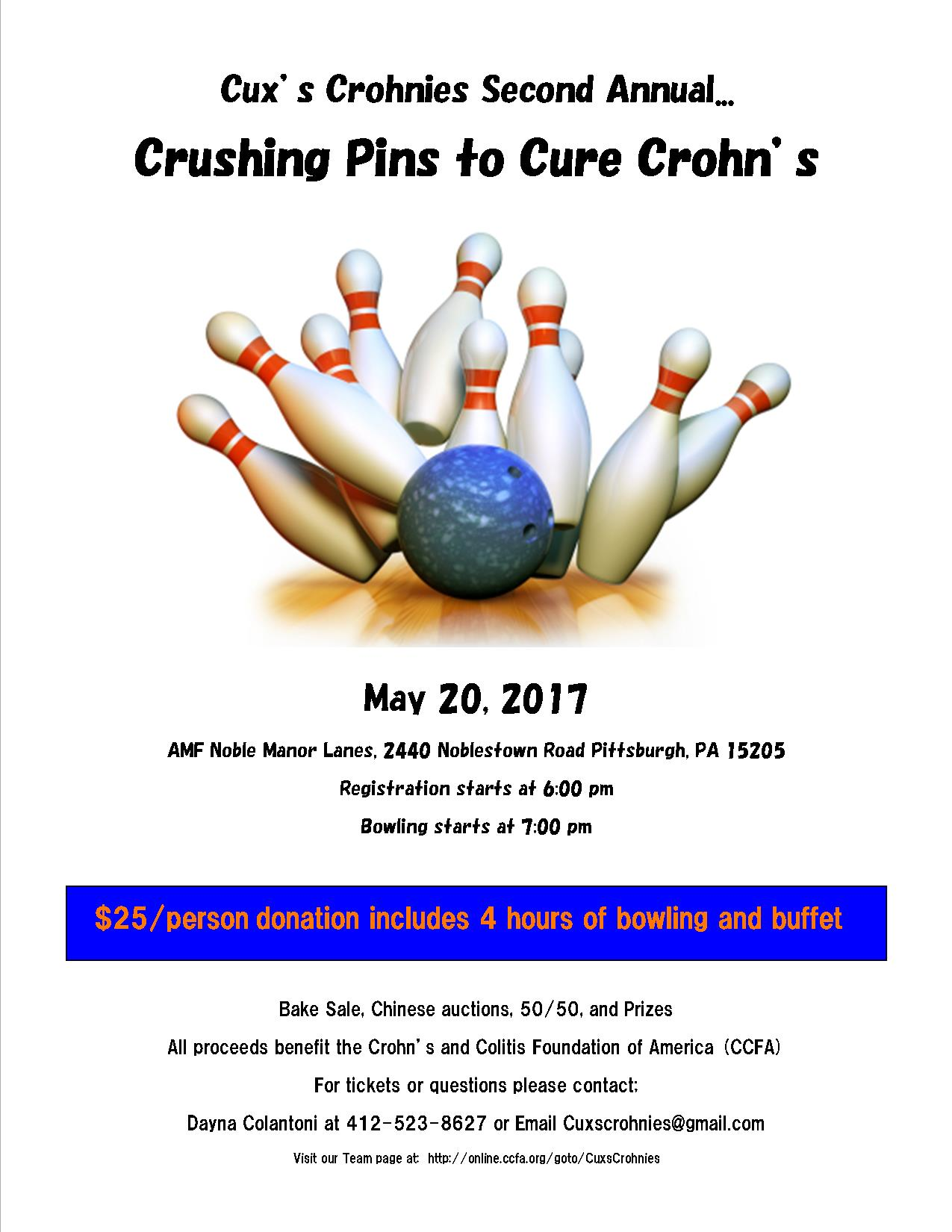 Cux's Crohnies Crushing Pins to Cure Crohn's