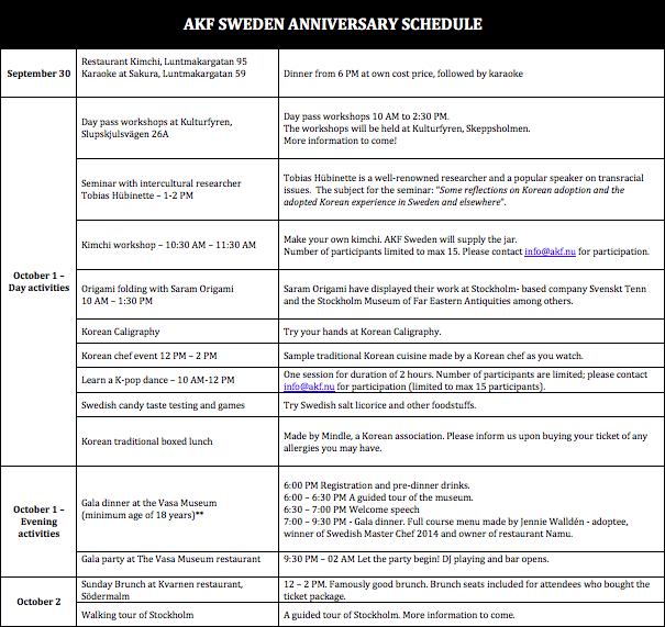 akf-30-anniversary-schedule