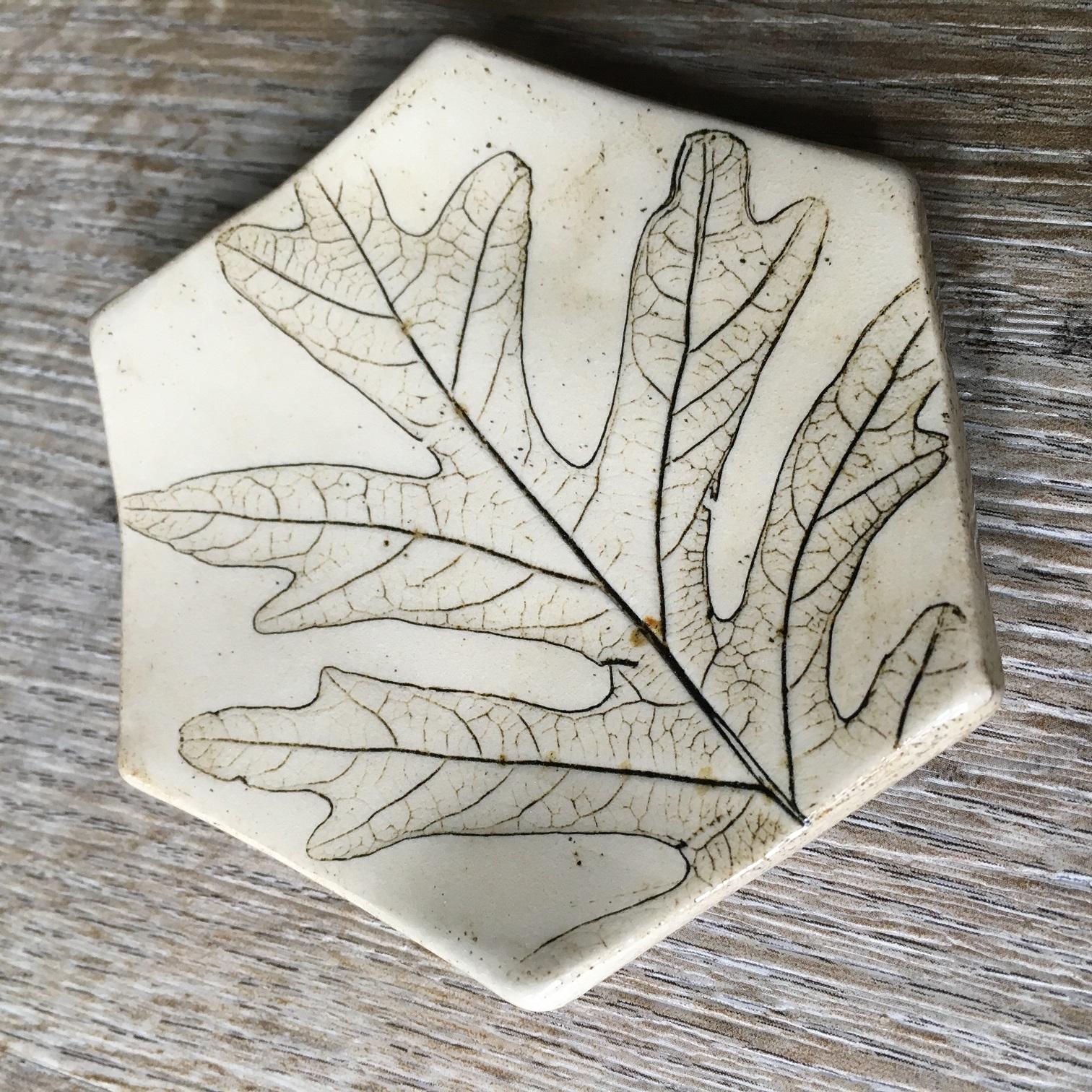 pottery oak leaf plate