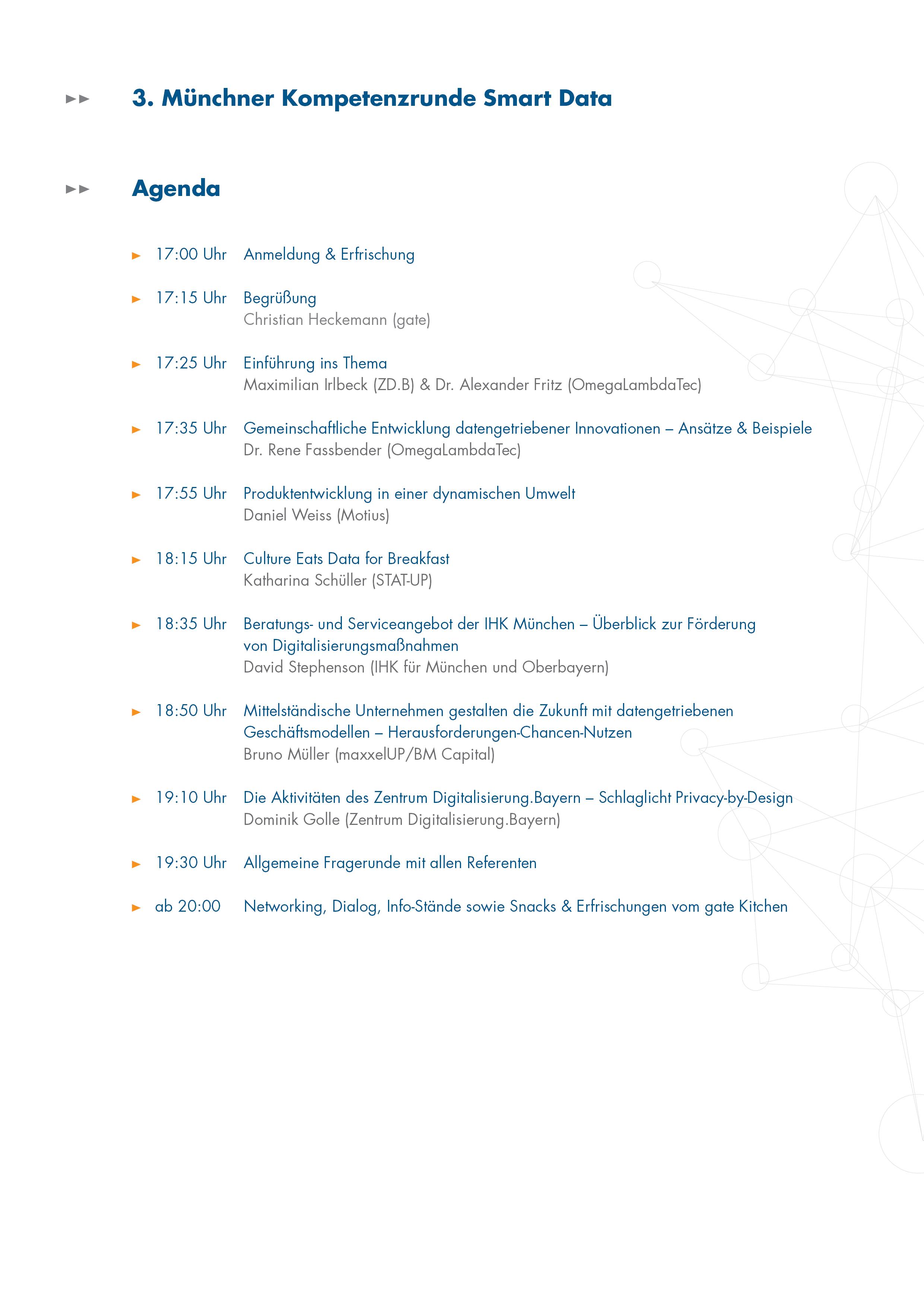 Agenda der Veranstaltung