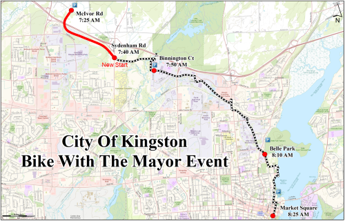 This image shows the route map for the Bike with the Mayor Ride
