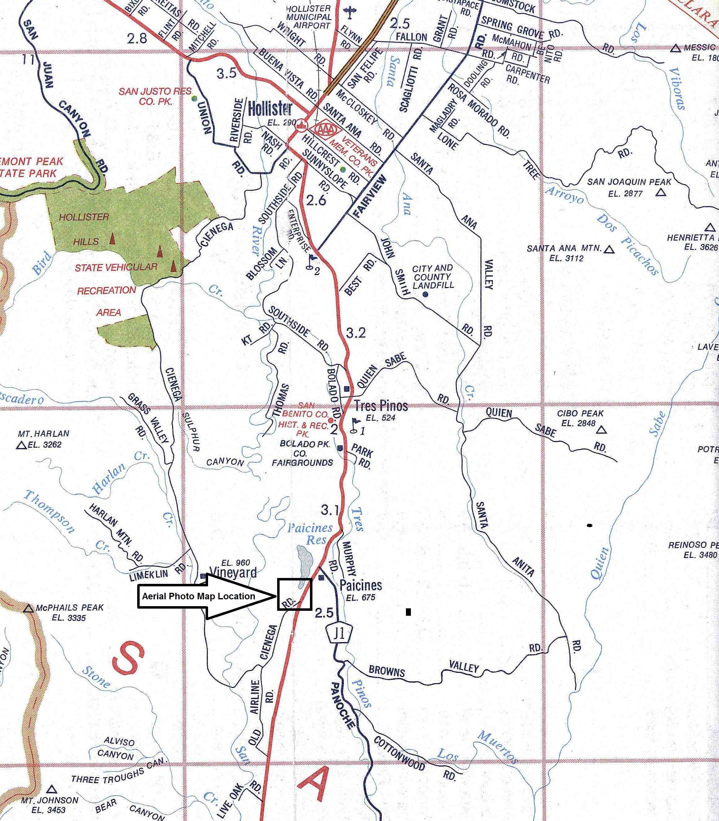 Street Map to Paicines Ranch