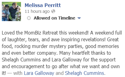 Melissa testimonial for MomBiz Retreat