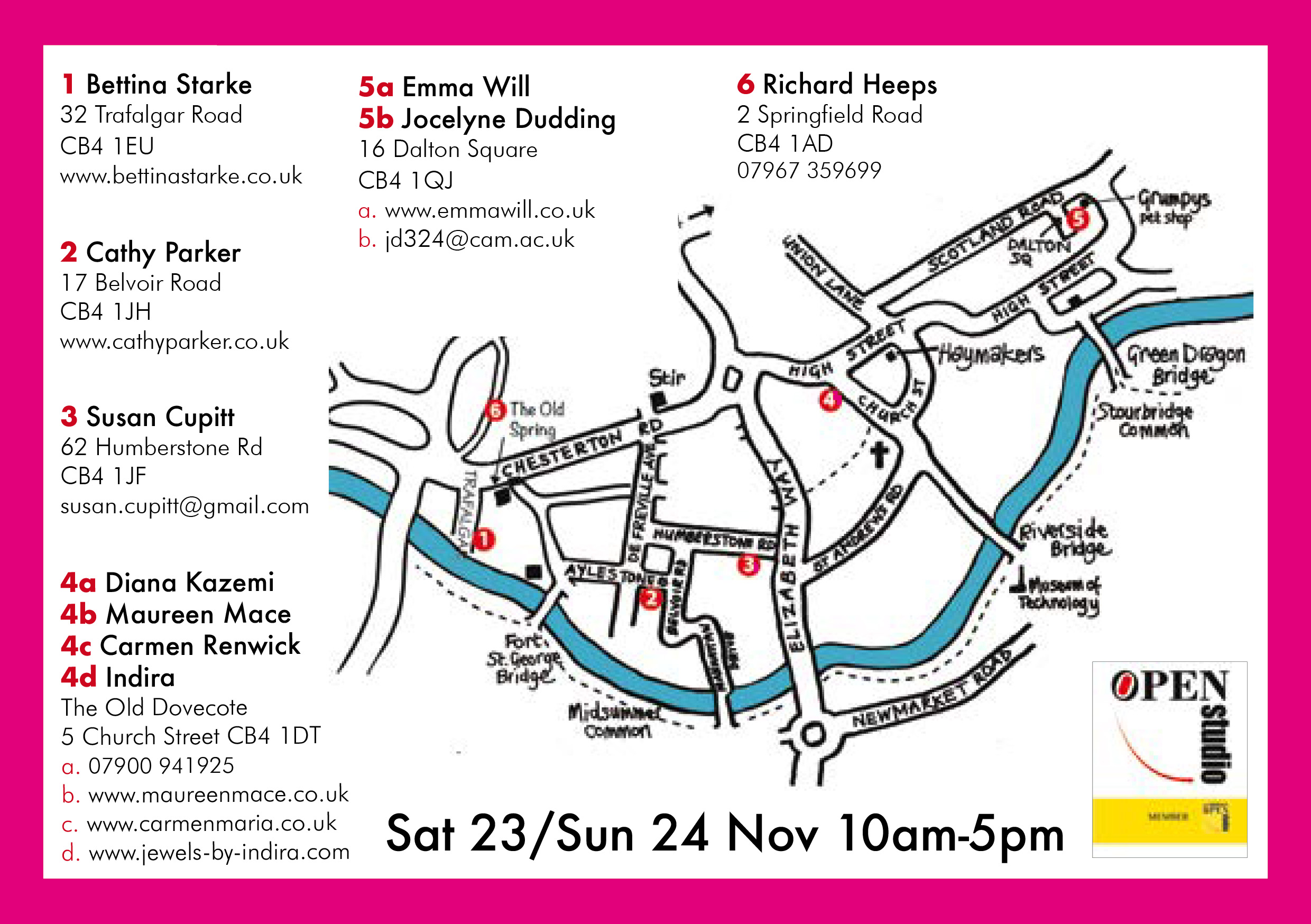 Cambridge Winter Open Studio Art Trail Map