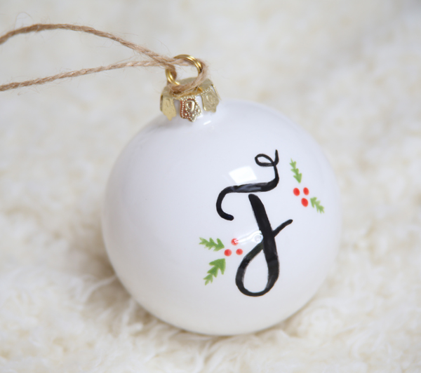 Brush Lettering Workshop London Christmas Bauble Initial