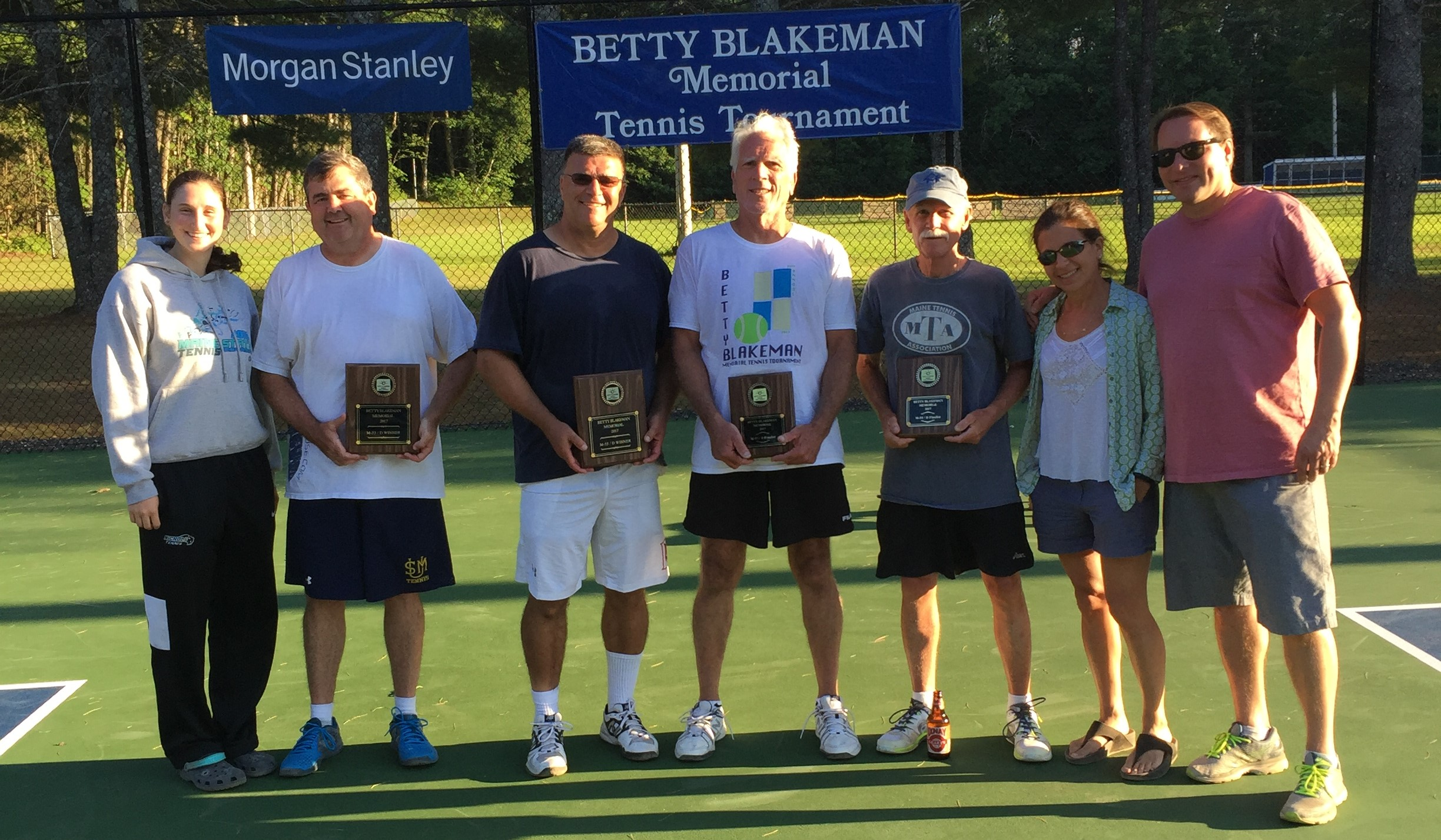 Men's 55& Over Finalist and Champions, Steve Eddy, Ron Chicoine, Glen Mayberry, Doug Bearce and Megan Nathanson