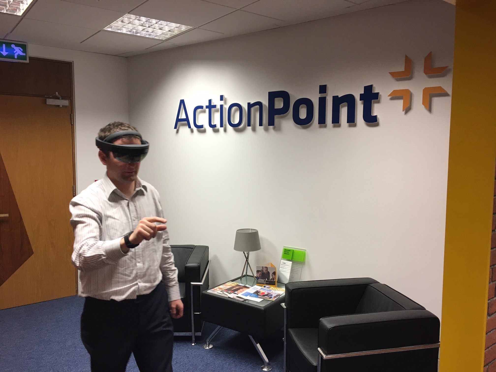John demonstrating the Hololens