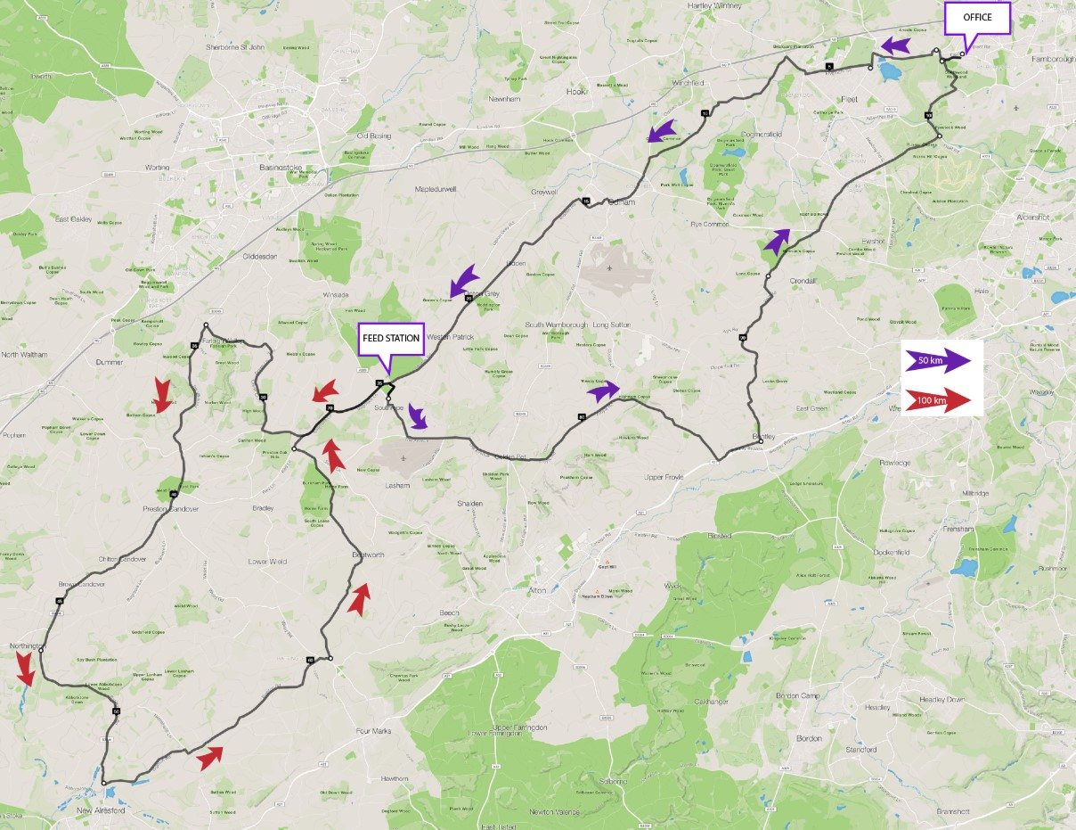 50km and 100km Cycle Routes