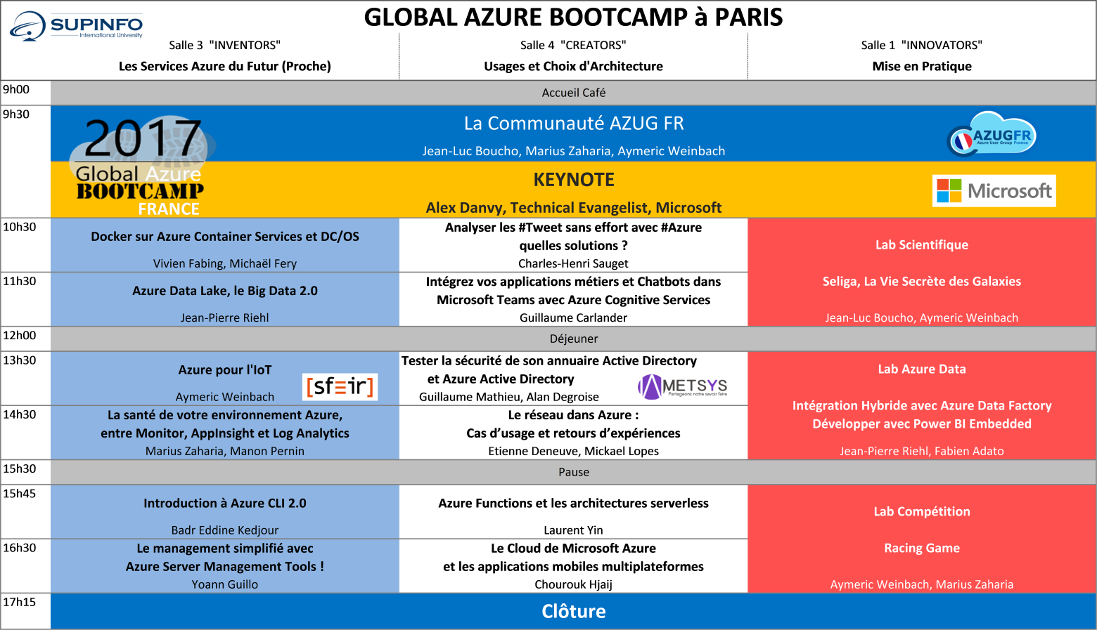 Agenda Global Azure Bootcamp Paris AZUG FR 2017