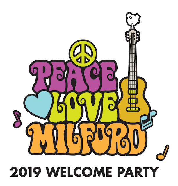 Peace Love Milford logo for 2019 MEC Enhancement Committee's Welcome Party