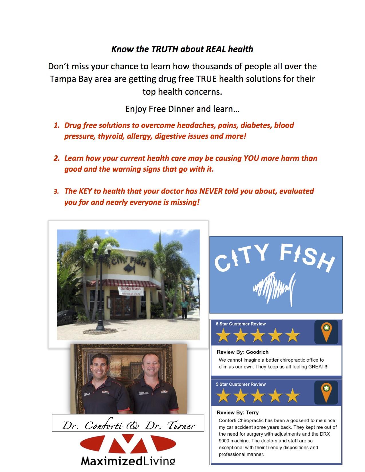 5 principles of natural healing dinner semminar dr for City fish oldsmar