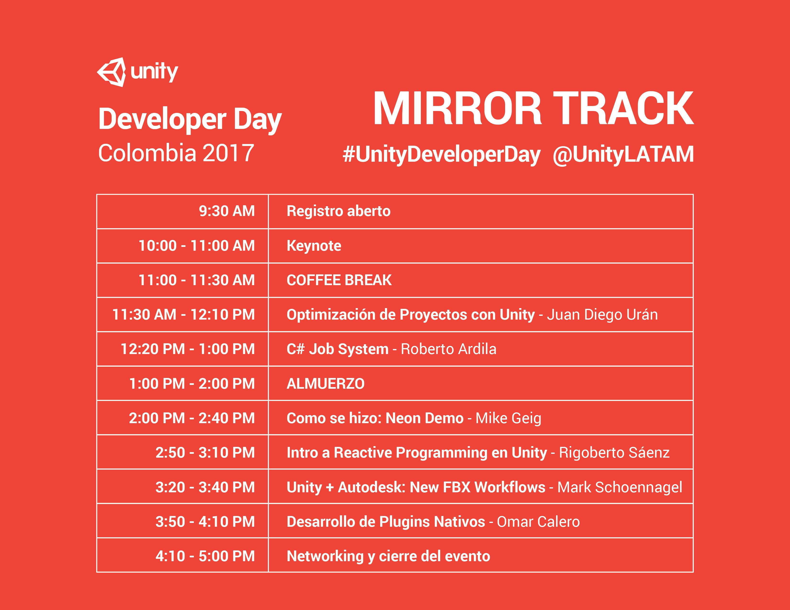 Horario 1 Developer Day Colombia