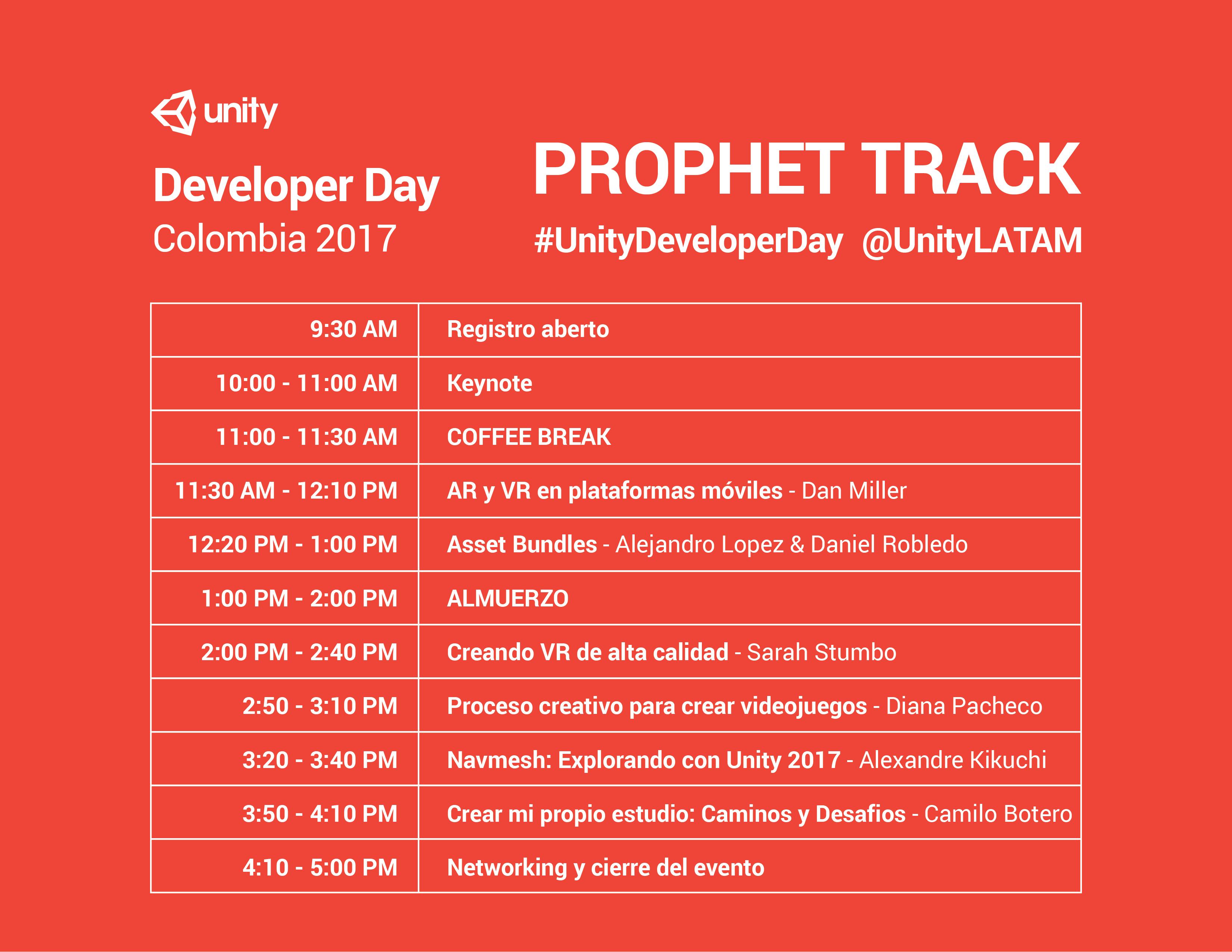 Horario 2 Developer Day Colombia