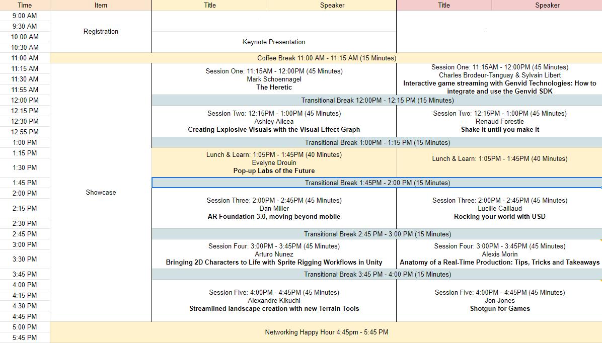 Schedule / Programme