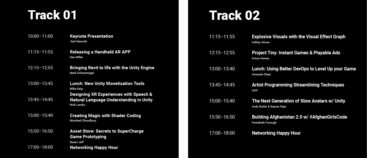 Unity Developer Day New York Schedule