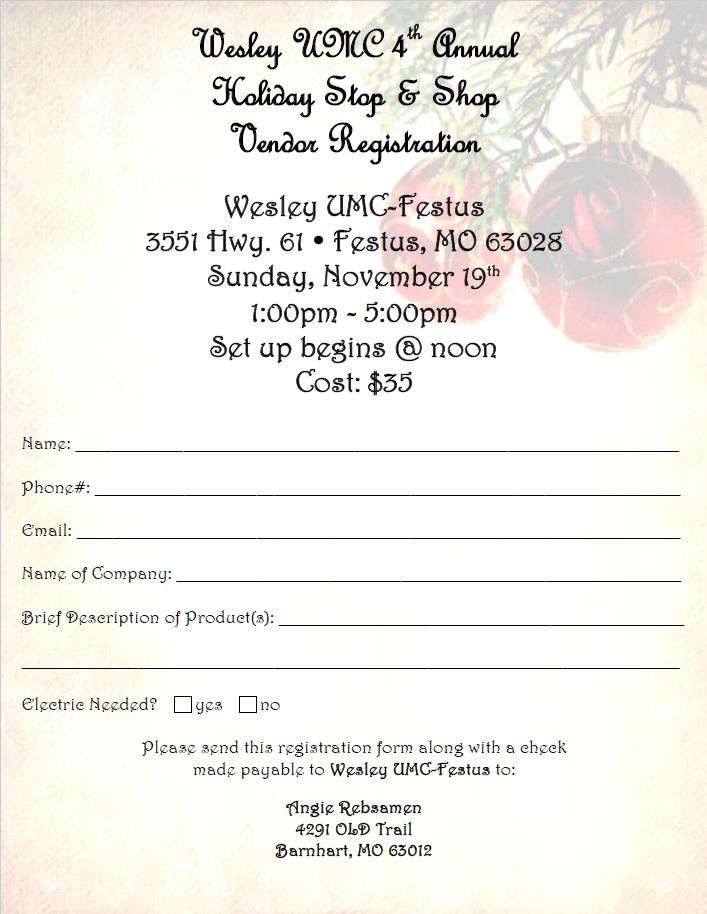 Holiday Stop & Shop Vendor Registration Form