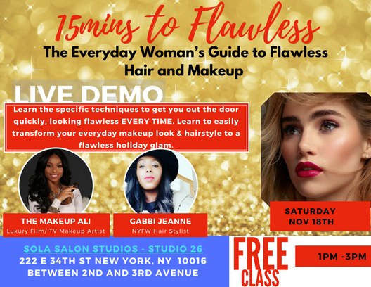 LEARN HOW TO QUICKLY DO YOUR HAIR AND MAKEUP. TRANSFORM YOUR EVERYDAY LOOK TO A GLAM HOLIDAY LOOK.