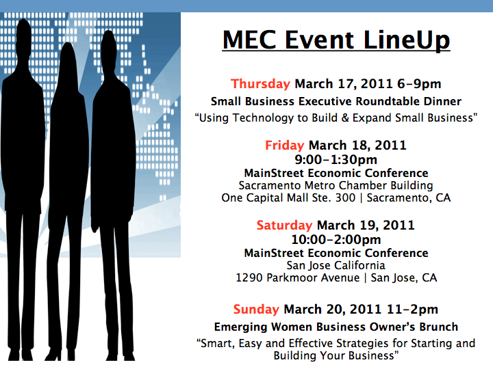 Small Business Conference March 17-20th in Sacrament and San Jose