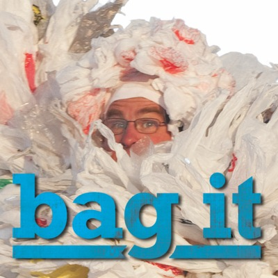 Picture of man covered in bags with title Bag it