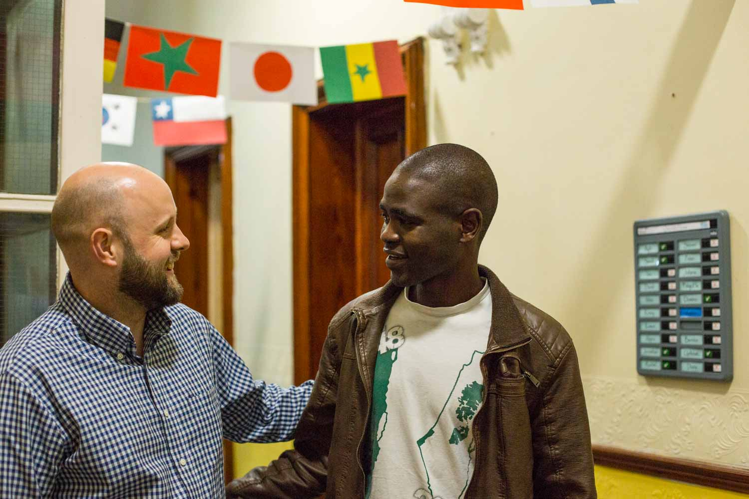 Staff member Andrew with Yakoub, one of our participants