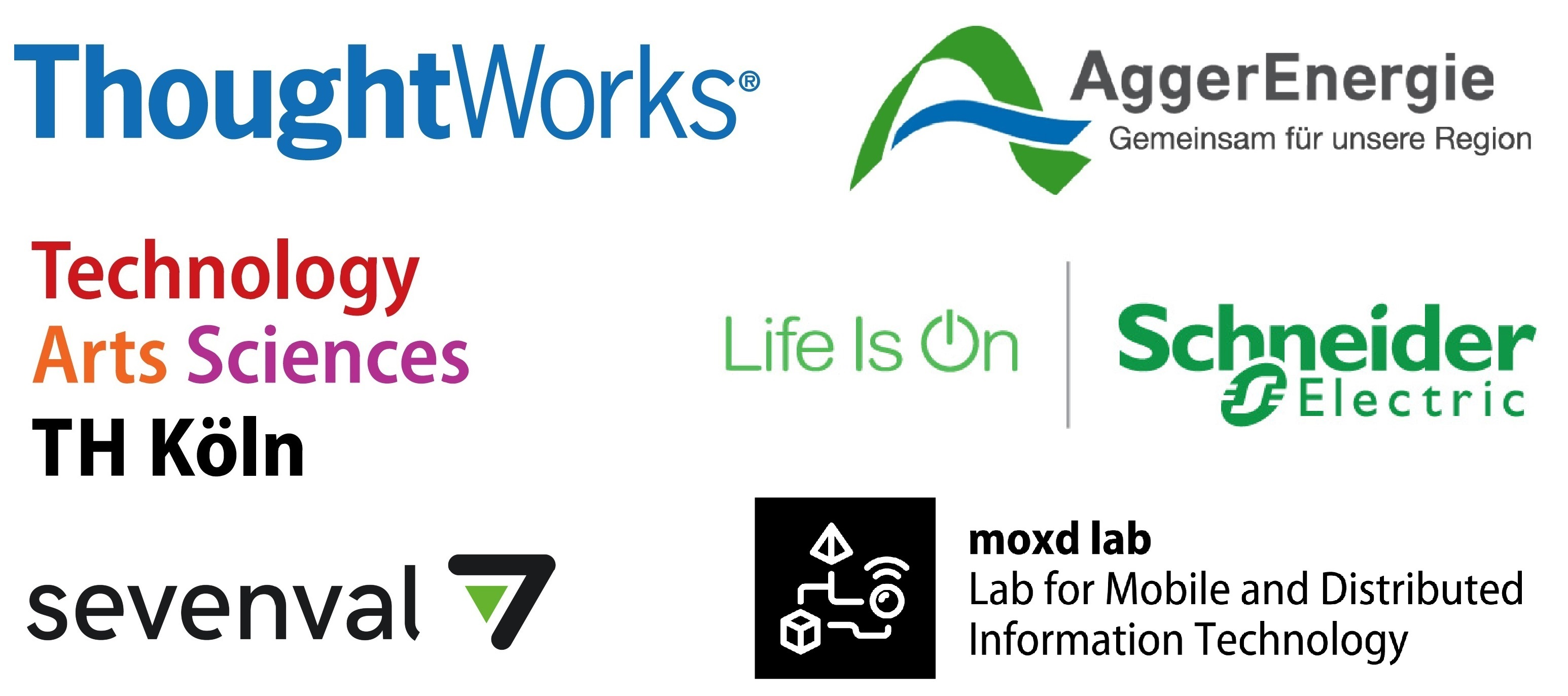 Sponsoren des IoT Workshops: TH Köln, Thoughworks, AggerEnergie, Schneider-Electric, moxd lab und sevenval